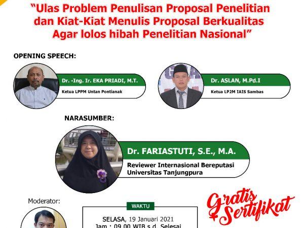 Webinar : Strategi Jitu Lolos Hibah Penelitian Nasional