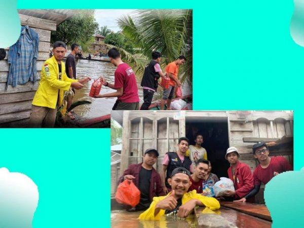 BEM IAIS Sambas Salurkan Bantuan Banjir di Desa Sepantai