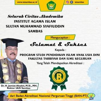 "Akreditasi ""B"" Prodi Pendidikan Islam Anak Usia Dini (PIAUD)"
