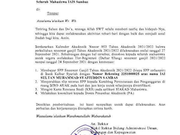 Her-Registrasi (Daftar Ulang) Tahun Akademik 2021/2022